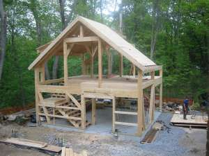 A post and beam barn frame