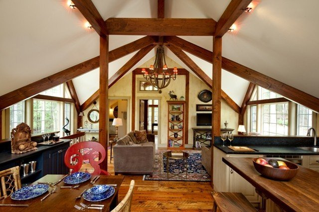My post and beam carriage house tea house won the 2010 for Carriage barn plans