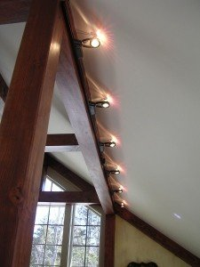 enlightenment interior lighting for a timber frame home
