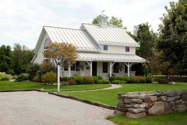 A post and beam farmhouse style guest cottage for Farm cottage house plans