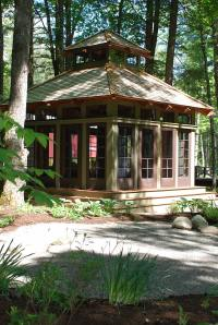Our tea house has sliding glass doors, as well as screen doors, on all four sides of the structure.