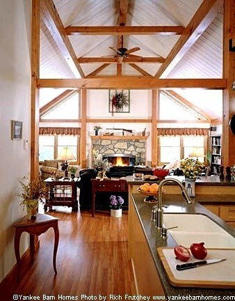 A terriffic post beam single level floor plan by yankee for Open floor plan barn homes