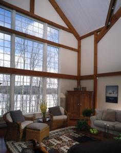 Floor-to-ceiling windows in a post and beam home