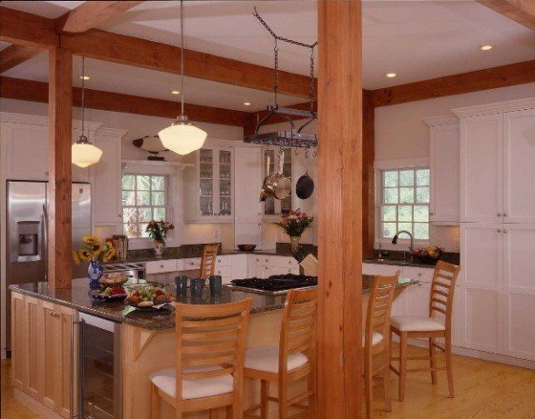 Post and beam kitchens with floor plans that work yankee for Open beam house plans