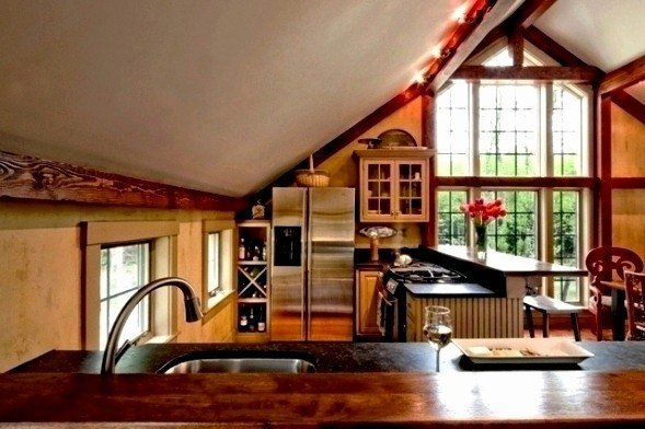 Barn home kitchen styles have come a long long way for Carriage house kitchen cabinets