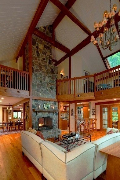 A stunning post and beam in the lakes region of new hampshire for Open concept post and beam house plans