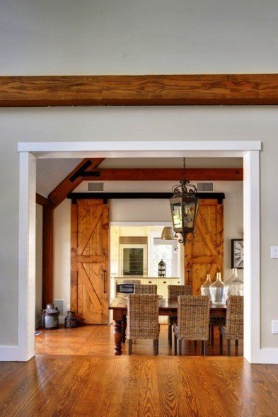 The new barn home dining room for Barn door dining room