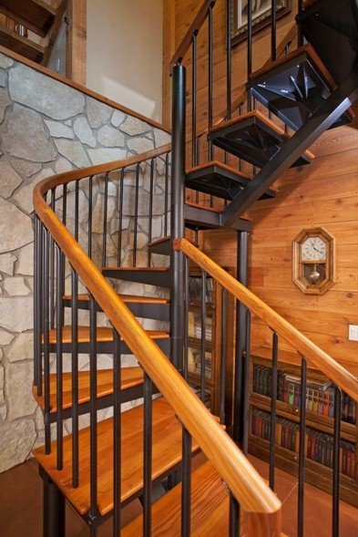 Barn house staircase ideas complete with photos for 2 story spiral staircase