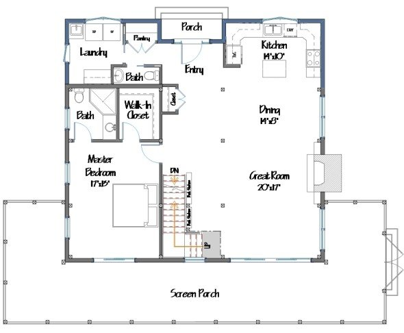 Barn house plans floor plans and photos from yankee barn for Barn house layouts
