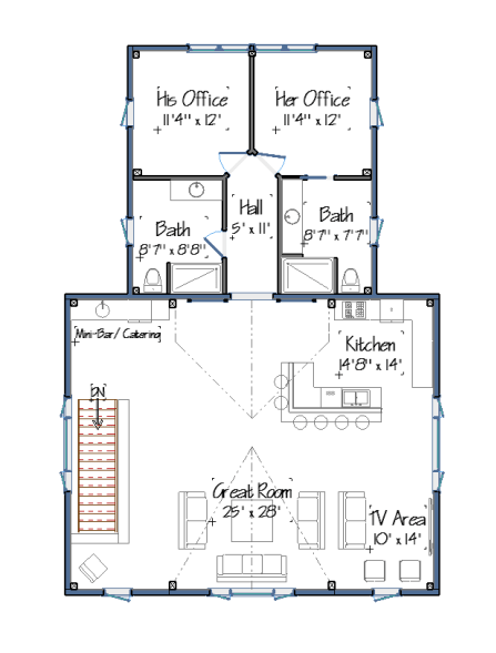 Barn house plans floor plans and photos from yankee barn for Barn guest house plans