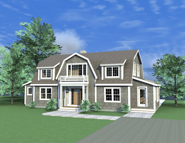 New post and beam dutch colonial design from yankee barn homes for Barn home plans