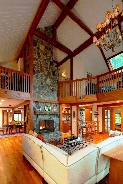 The barn house fireplace for Barn type homes