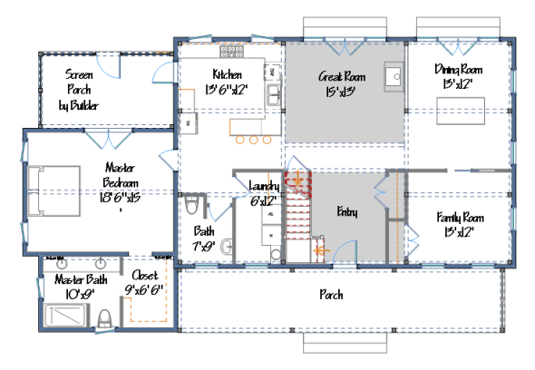 More barn home plans from yankee barn homes for Barn living floor plans