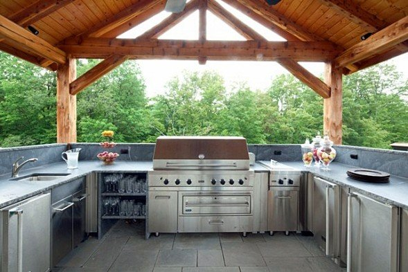 A post and beam pavilion with outdoor kitchen for Outdoor kitchen pavilion designs
