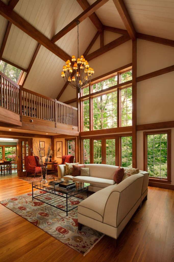Gathering house yankee barn homes for Open concept post and beam house plans