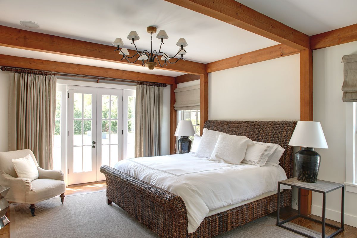 Panelized post and beam bedroom in East Hampton