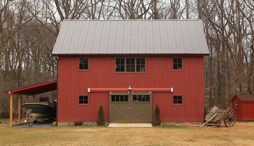 Edgewater carriage house garage plans yankee barn homes for Two story pole barn homes