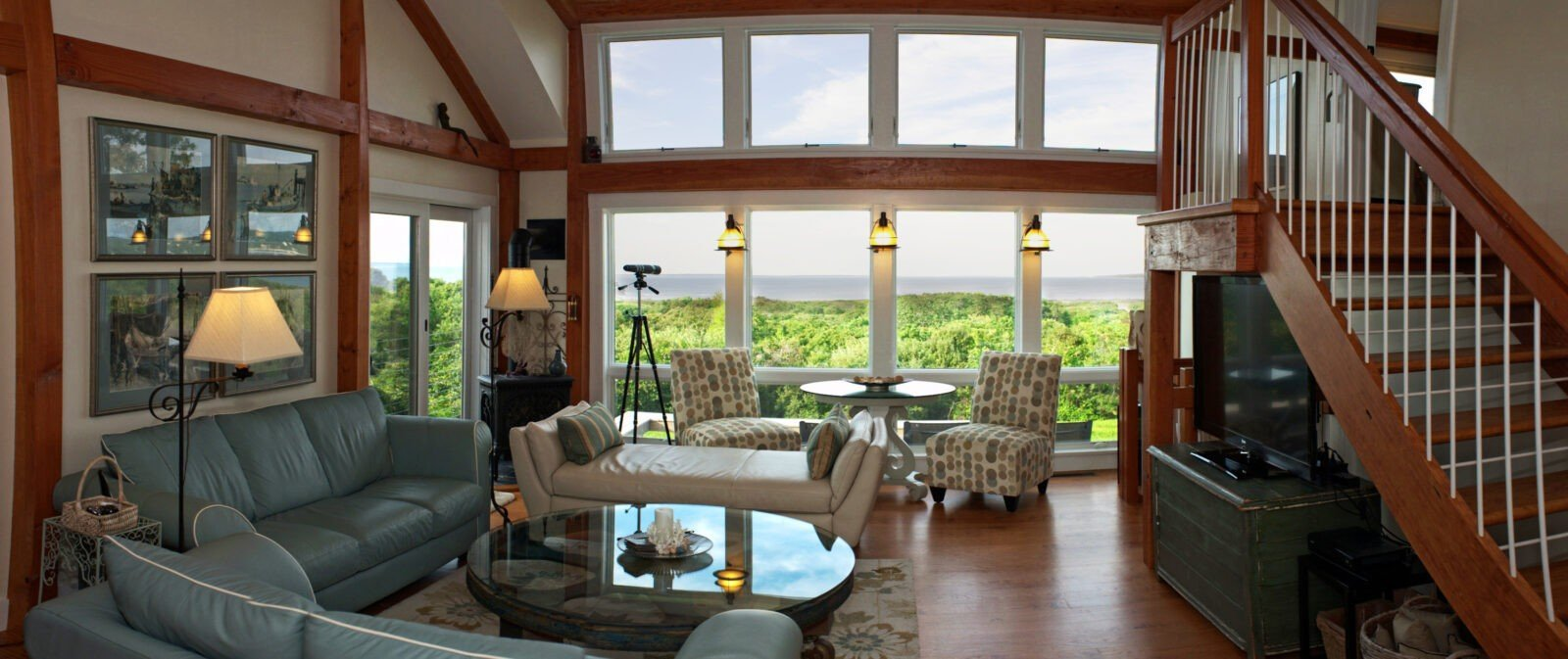 Martha's Vineyard Post and Beam Cottage Living Room
