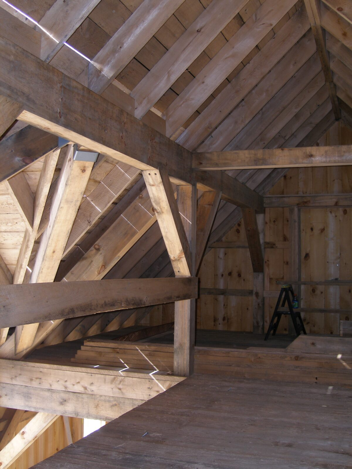 Interior beams of Christmas Tree Barn