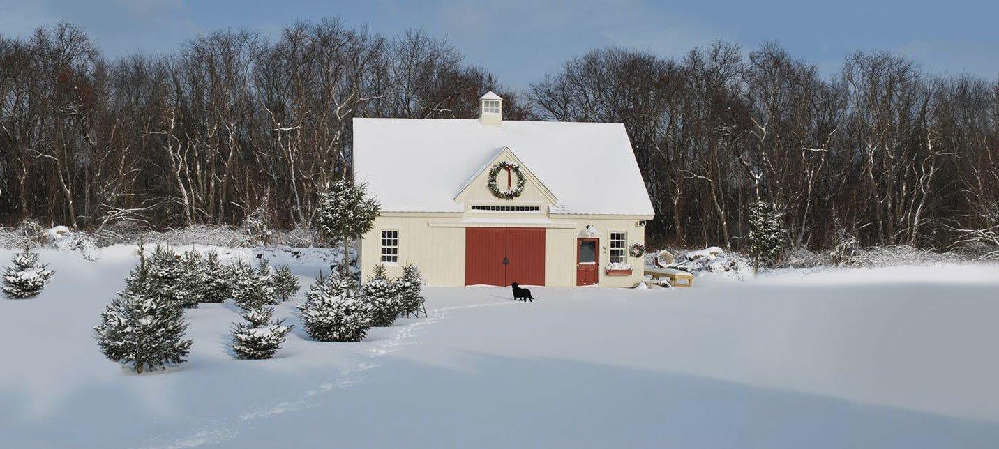 Yankee Barn Home post and beam christmas tree barn