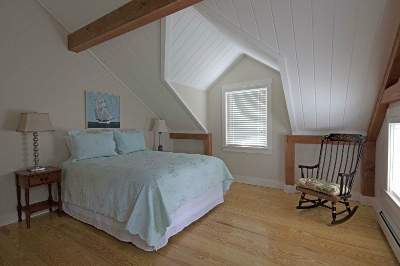timber frame coastal cottage guest bedroom