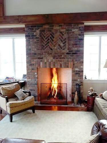 Great Room Fireplace Herringbone Inlay