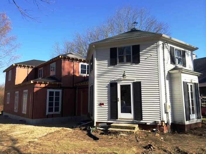 Parris-Briggs House Construction Driveway Side