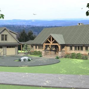 Ashuelot Lodge Front Angled Elevation