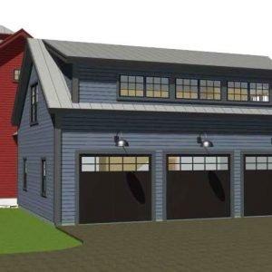 Contemporary Post and BeamThree-Car garage