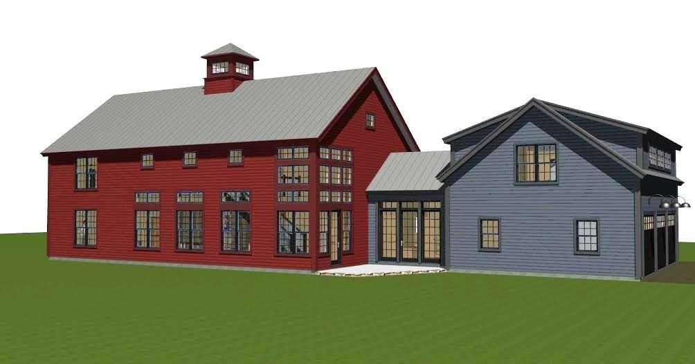 Contemporary post and beam the bancroft for Two story barn house plans