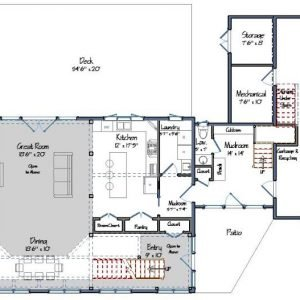 Contemporary Post and Beam Level One Floor Plan