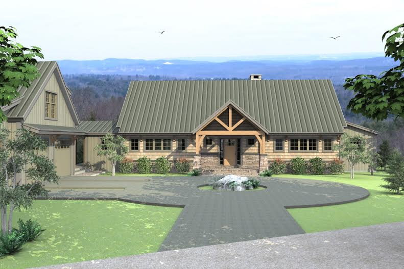 Single floor living in a multilevel yankee barn for Post and beam ranch homes