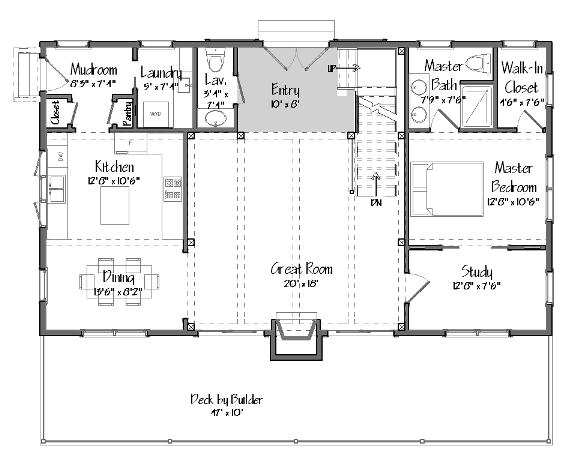 Single floor living in a multilevel yankee barn for Lake house floor plan