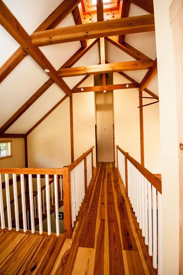 Timber Frame Farmhouse Post and Beam Hallway
