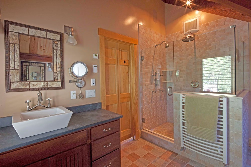 Cedar Cove Post and Beam Barn Home Bath
