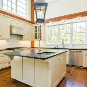 Center Island Post and Beam Kitchen