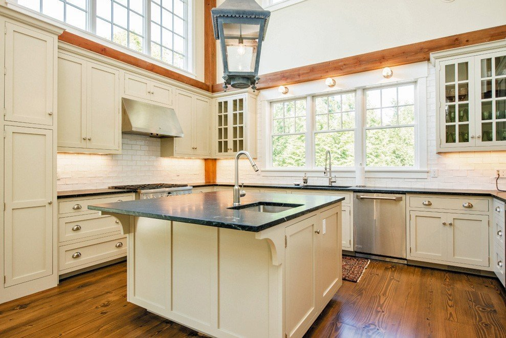 Post and beam homes addition fieldview - Kitchen island with post ...