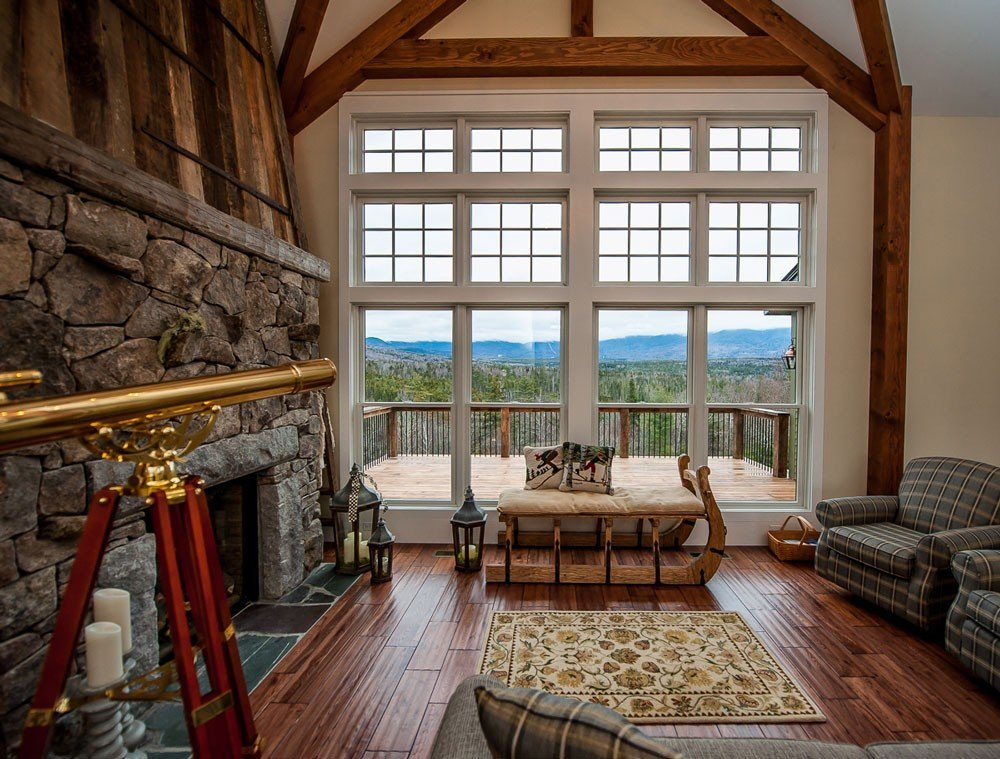 Post and beam barn home great room