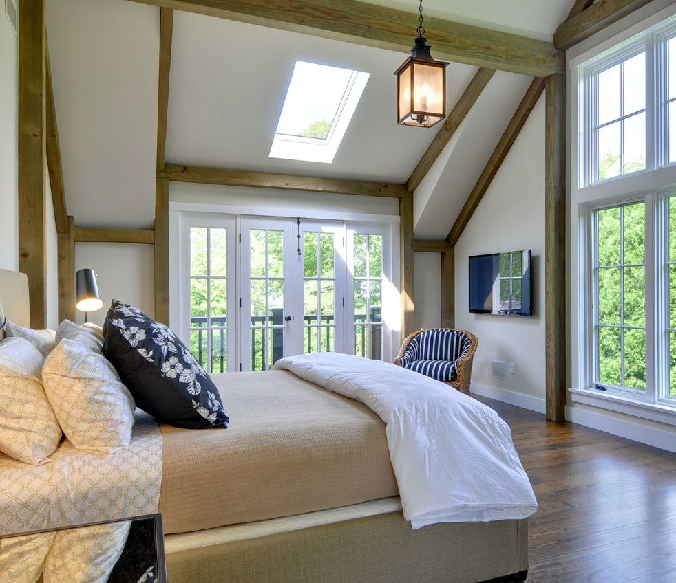 Modern East Hampton Barn Home Bedroom