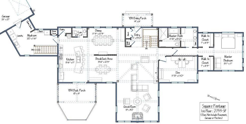 Post and beam single story floor plans for Great room floor plans single story