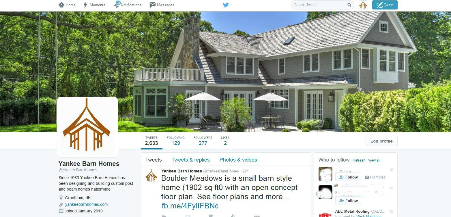 Yankee Barn Homes Twitter