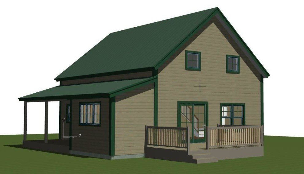 Small barn house plans the mont calm for Small barn house plans