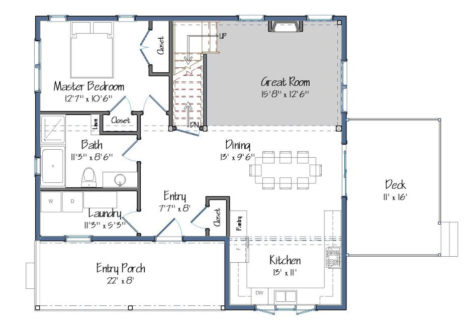 Small barn house plans the mont calm for 1 level floor plans