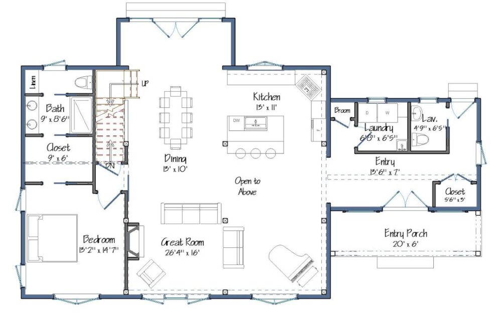 New small barn house plans the downing for House barn plans floor plans