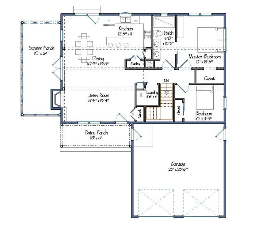 Dunbar Hill Cottage Level One Floor Plan