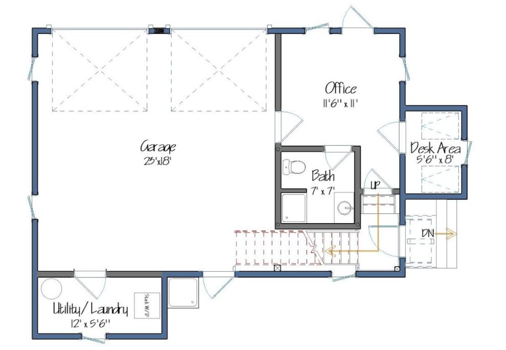 Old French Carriage House Lower Level Floor Plan