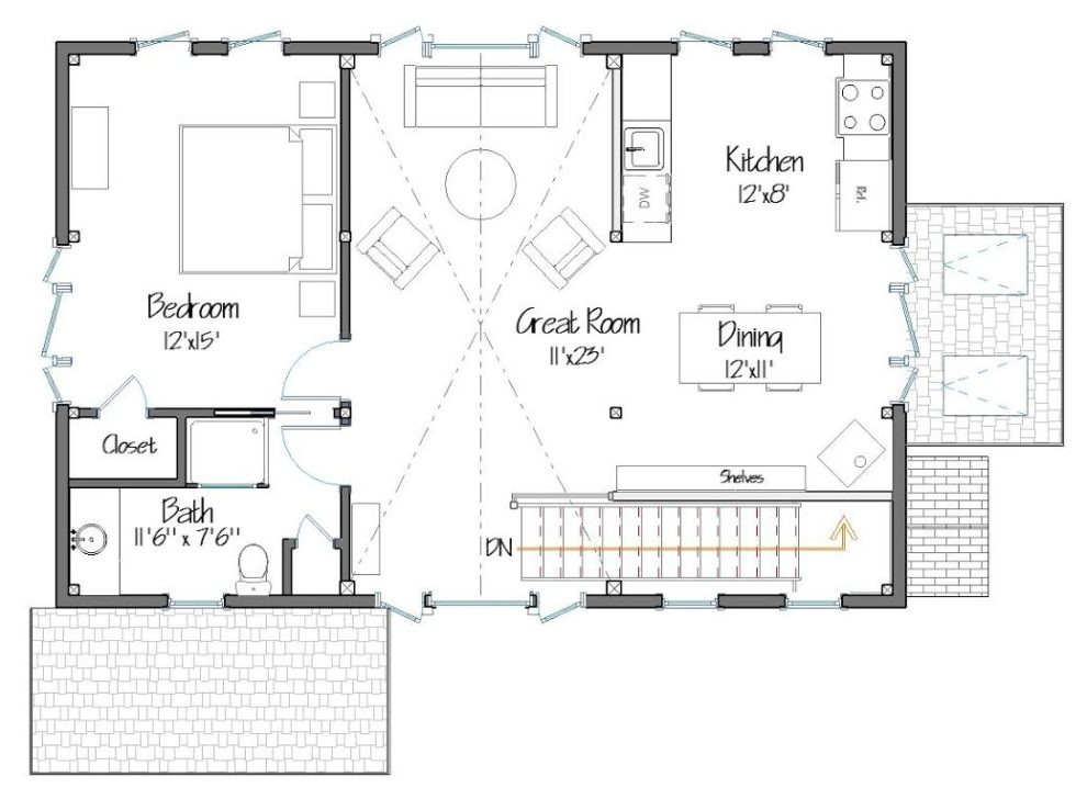 Old French Carriage House Upper Level Floor Plan