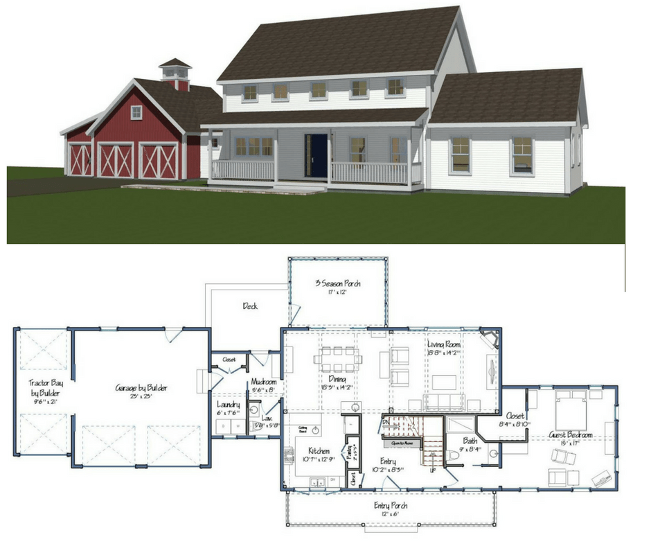 New yankee barn homes floor plans for Barn floor plan