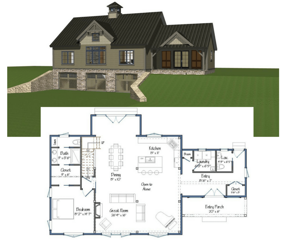 New yankee barn homes floor plans Aging in place floor plans